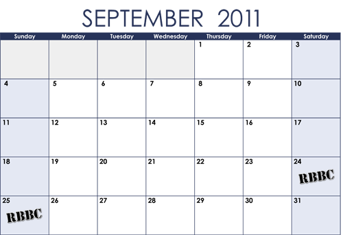 calendar september 2011. UPCOMING SCHEDULE. September